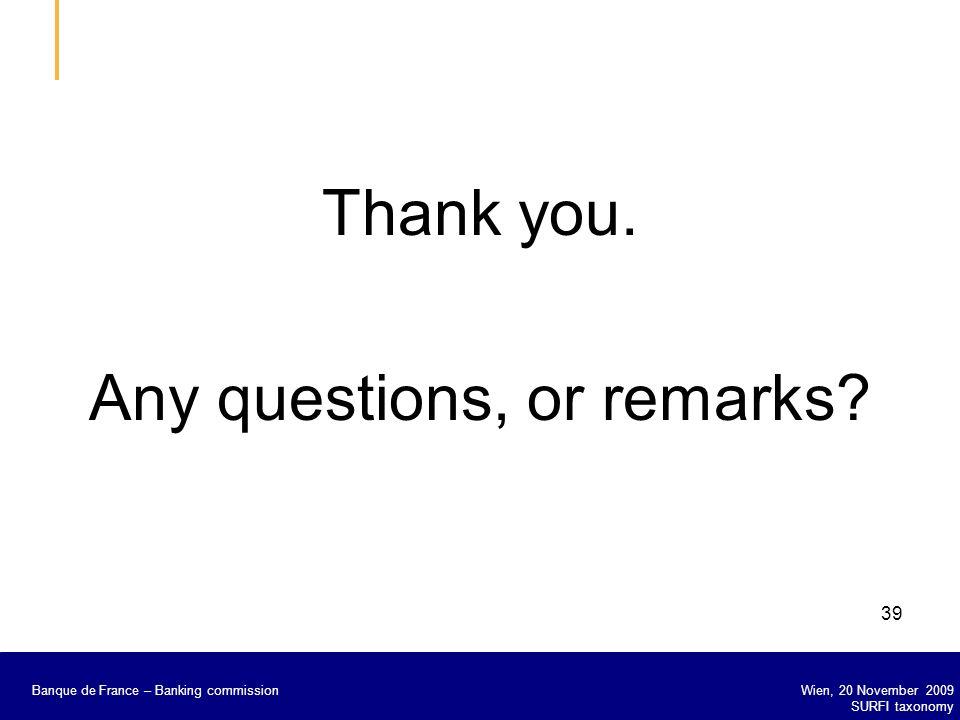 Banque de France – Secrétariat général de la Commission bancaire Wien, 20 November 2009 SURFI taxonomy Banque de France – Banking commission 39 Thank