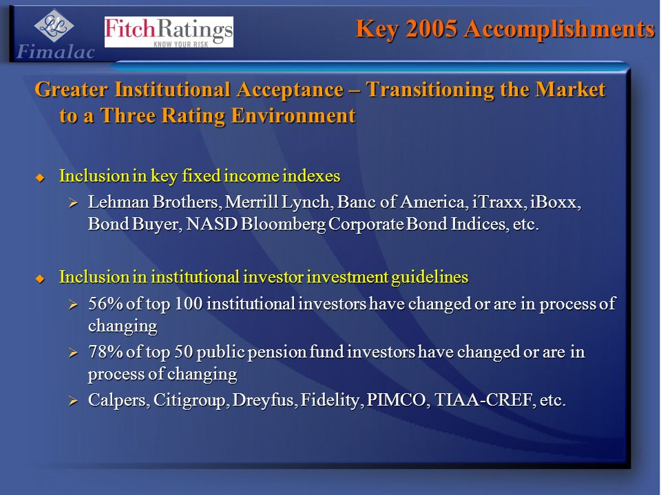Key 2005 Accomplishments Greater Institutional Acceptance – Transitioning the Market to a Three Rating Environment Inclusion in key fixed income index