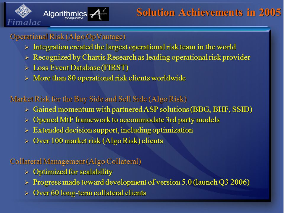 Solution Achievements in 2005 Operational Risk (Algo OpVantage) Integration created the largest operational risk team in the world Integration created