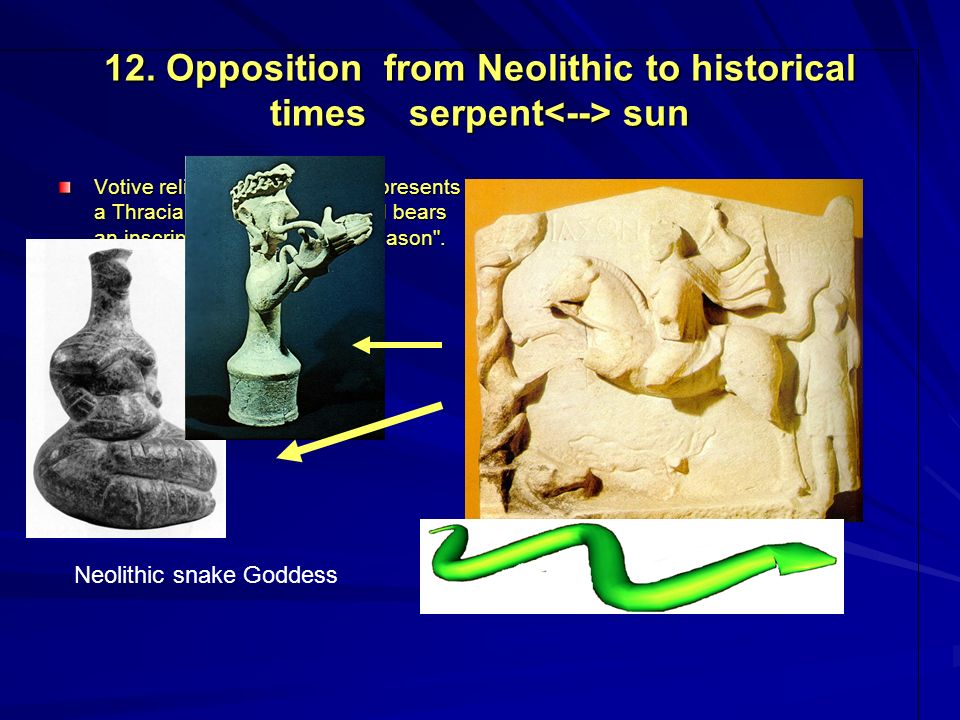 12. Opposition from Neolithic to historical times serpent sun Votive relief from Galene. It represents a Thracian horseman-hero and bears an inscripti
