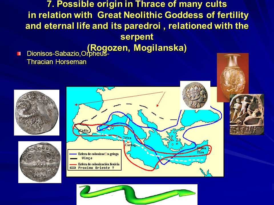 7. Possible origin in Thrace of many cults in relation with Great Neolithic Goddess of fertility and eternal life and its paredroi, relationed with th