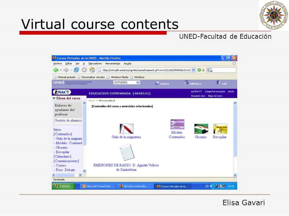 Elisa Gavari UNED-Facultad de Educación Virtual course contents