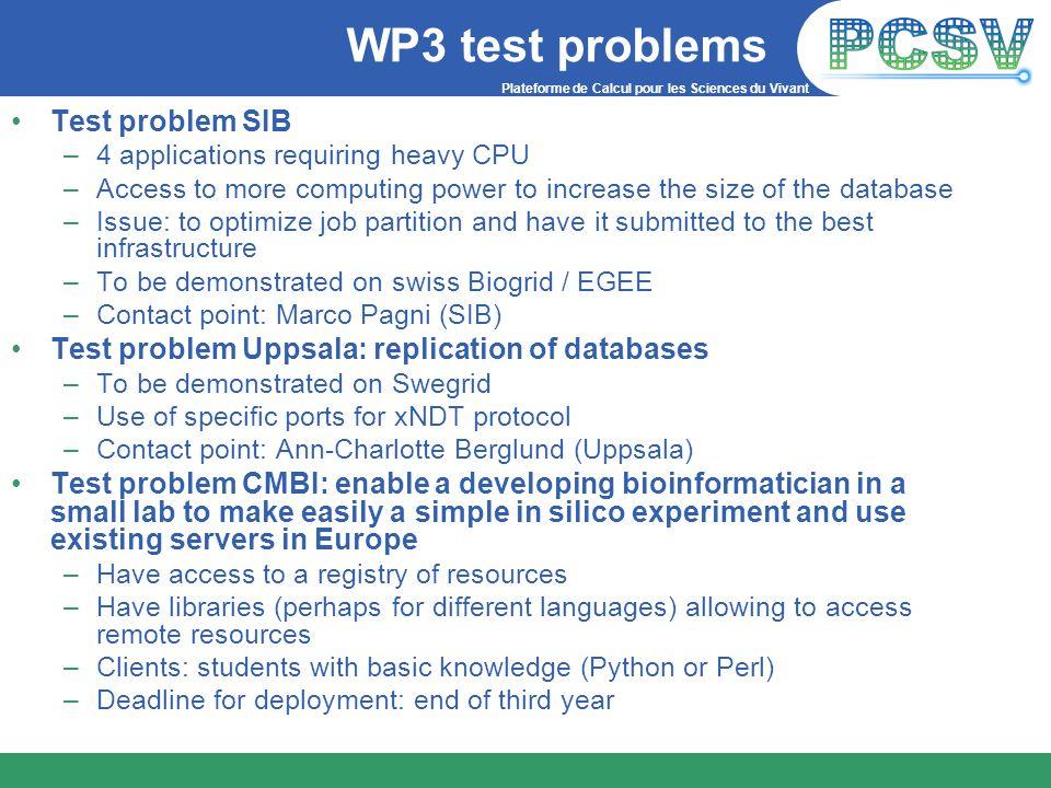Plateforme de Calcul pour les Sciences du Vivant WP3 test problems Test problem SIB –4 applications requiring heavy CPU –Access to more computing powe
