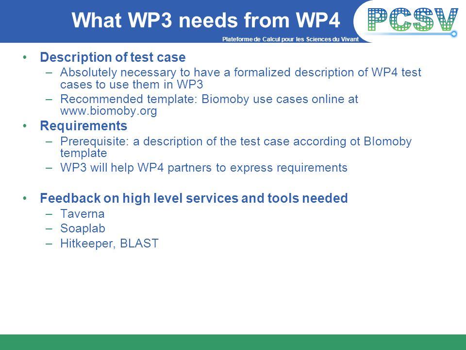 Plateforme de Calcul pour les Sciences du Vivant What WP3 needs from WP4 Description of test case –Absolutely necessary to have a formalized descripti