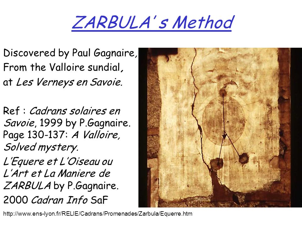 ZARBULA s Method Discovered by Paul Gagnaire, From the Valloire sundial, at Les Verneys en Savoie. Ref : Cadrans solaires en Savoie, 1999 by P.Gagnair