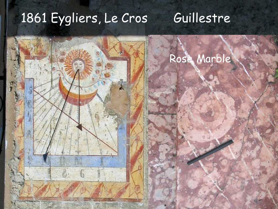 1861 Eygliers, Le Cros Guillestre Complementary corner dial lost Rose Marble