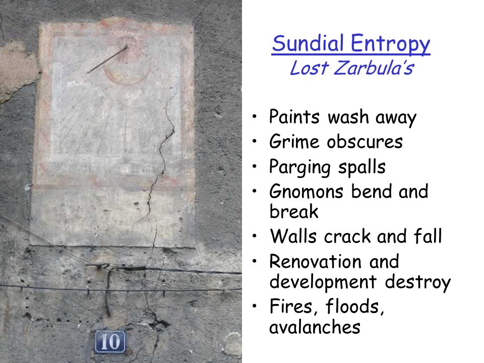 Sundial Entropy Lost Zarbulas Paints wash away Grime obscures Parging spalls Gnomons bend and break Walls crack and fall Renovation and development de