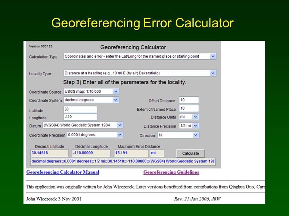 Georeferencing Error Calculator