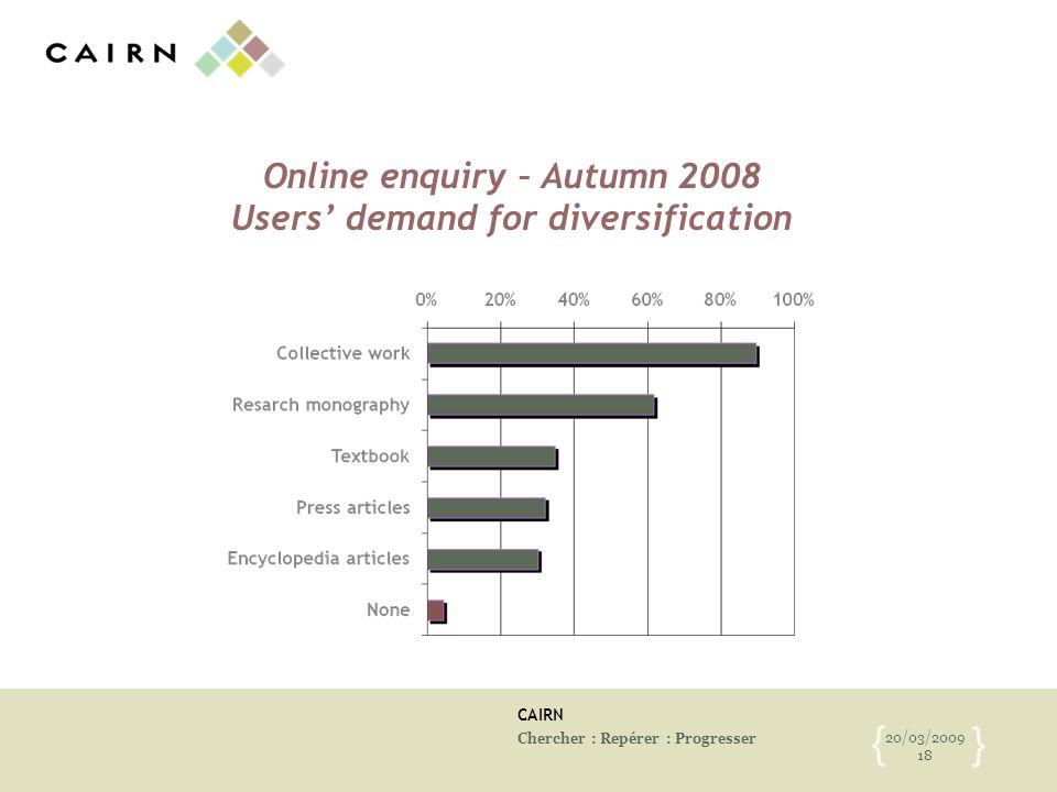 CAIRN Chercher : Repérer : Progresser 20/03/2009 18 { } Online enquiry – Autumn 2008 Users demand for diversification