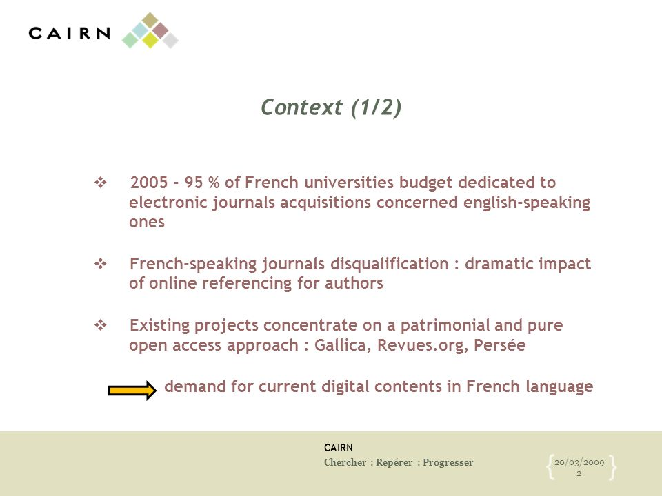 CAIRN Chercher : Repérer : Progresser 20/03/2009 2 { } Context (1/2) 2005 - 95 % of French universities budget dedicated to electronic journals acquis