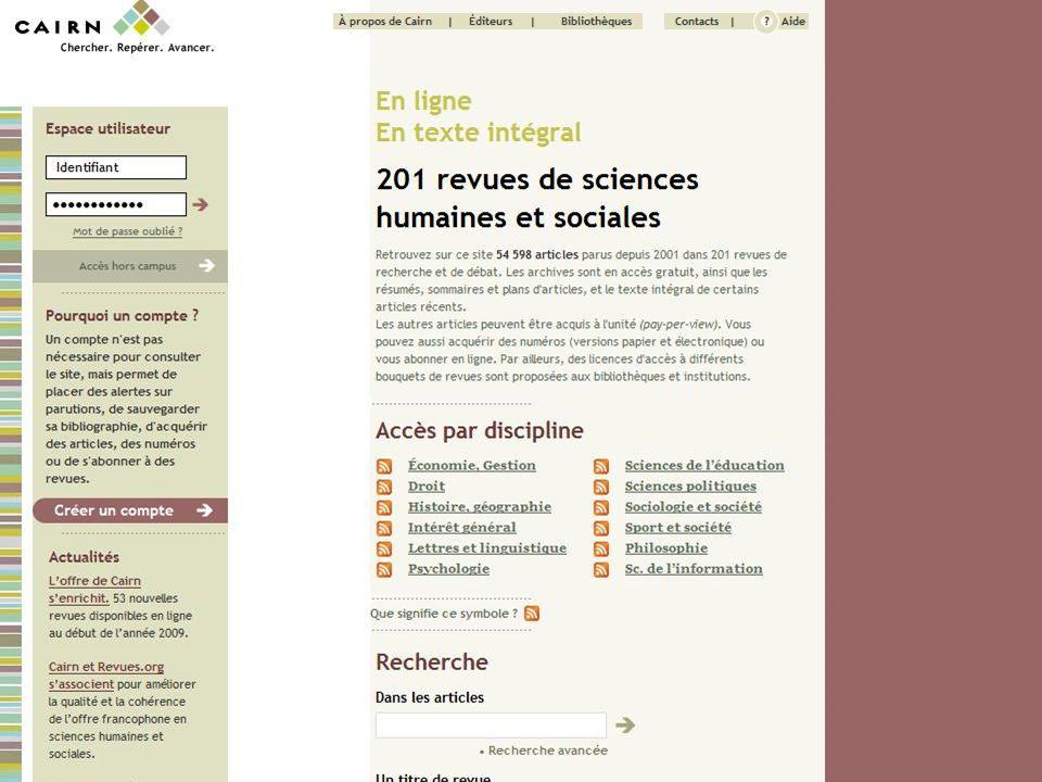 CAIRN Chercher : Repérer : Progresser 20/03/2009 6 { }