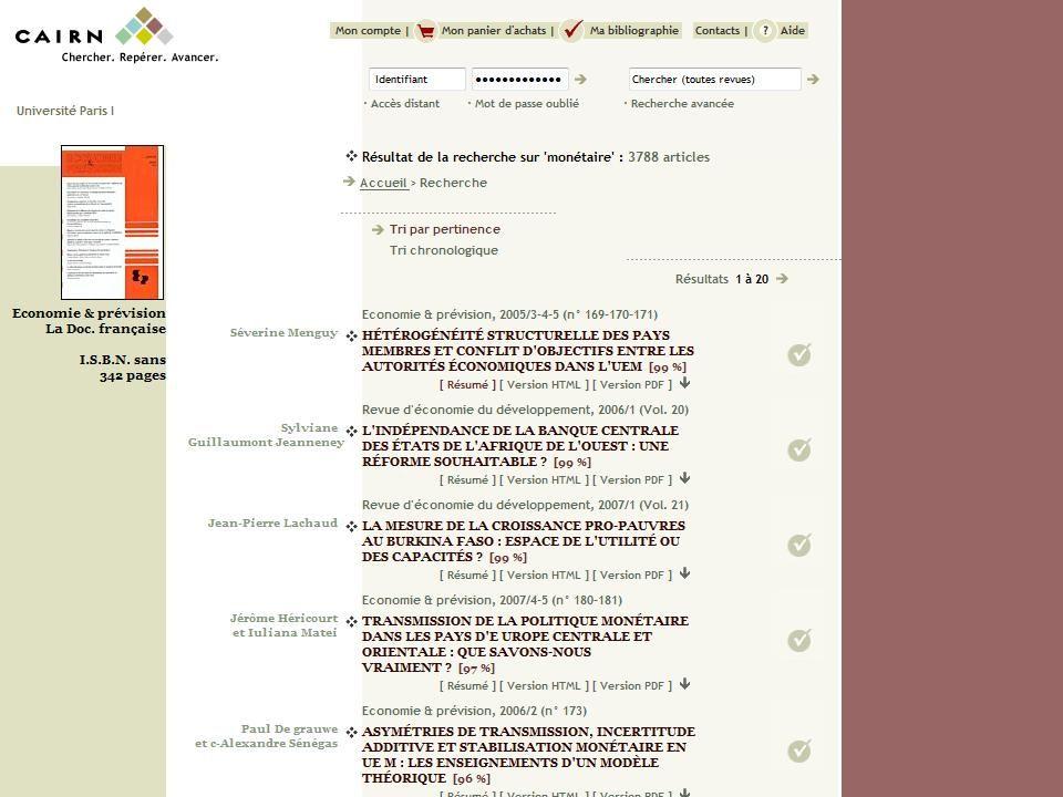 CAIRN Chercher : Repérer : Progresser 20/03/2009 8 { }