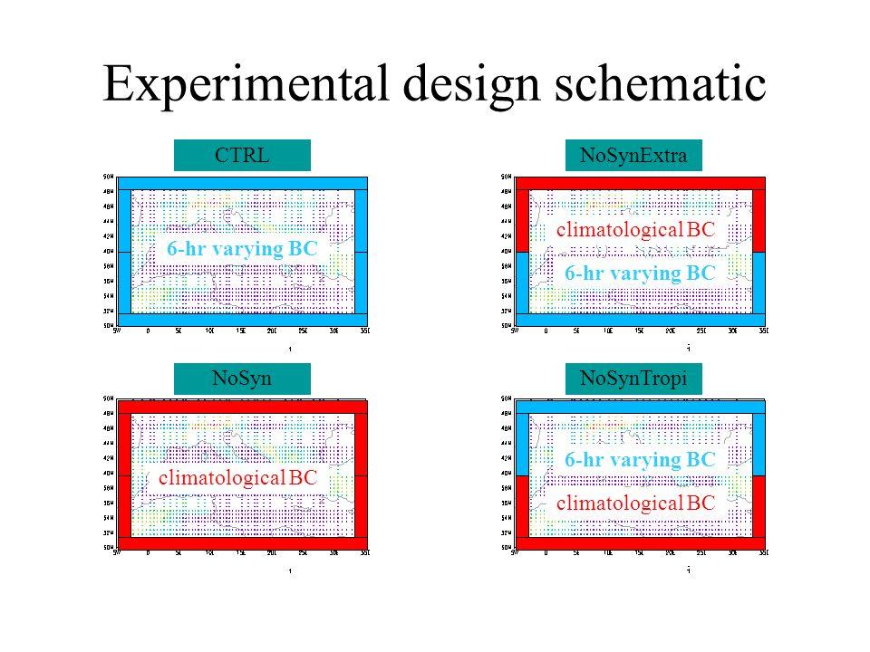 Experimental design schematic CTRLNoSynExtra NoSynTropiNoSyn 6-hr varying BC climatological BC 6-hr varying BC climatological BC
