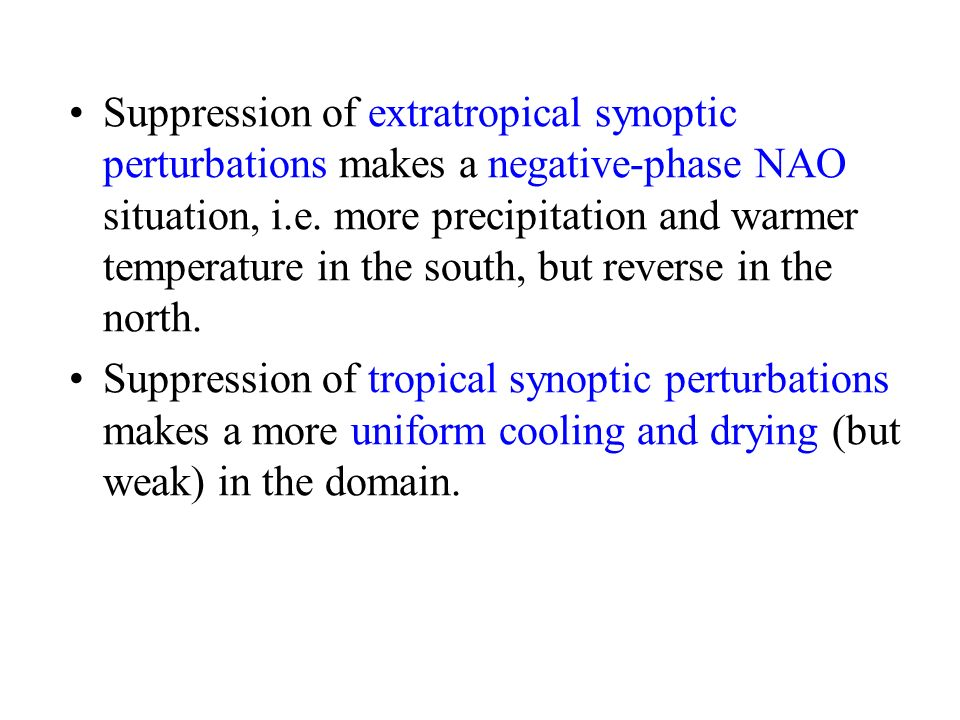 Suppression of extratropical synoptic perturbations makes a negative-phase NAO situation, i.e. more precipitation and warmer temperature in the south,