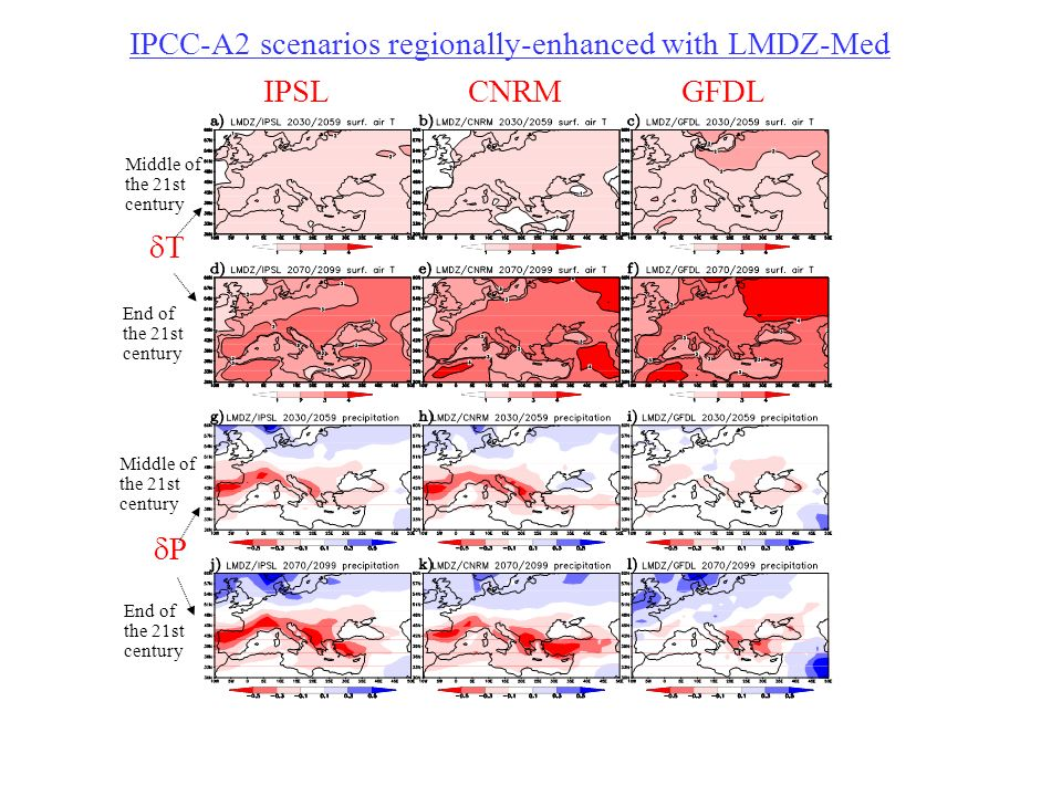 IPCC-A2 scenarios regionally-enhanced with LMDZ-Med IPSLCNRMGFDL Middle of the 21st century End of the 21st century Middle of the 21st century End of