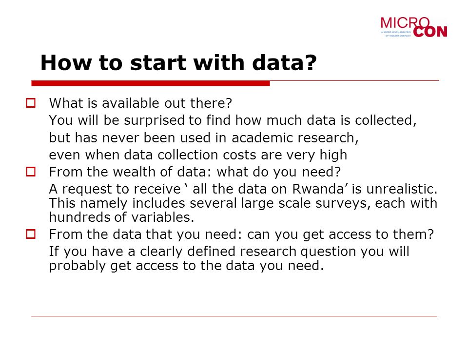 How to start with data. What is available out there.