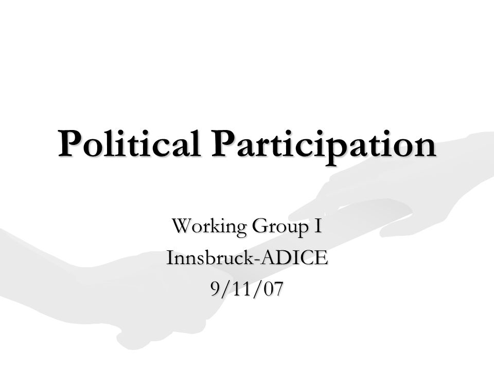 Political Participation Working Group I Innsbruck-ADICE9/11/07