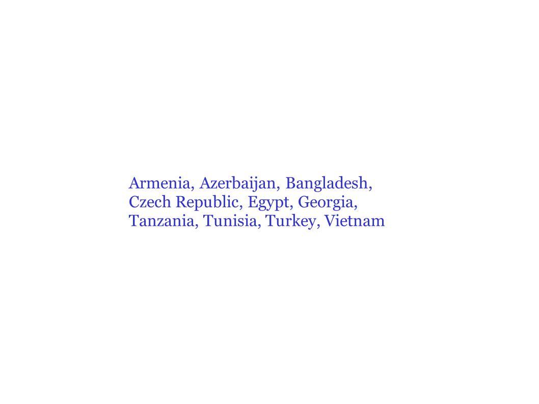 Armenia, Azerbaijan, Bangladesh, Czech Republic, Egypt, Georgia, Tanzania, Tunisia, Turkey, Vietnam
