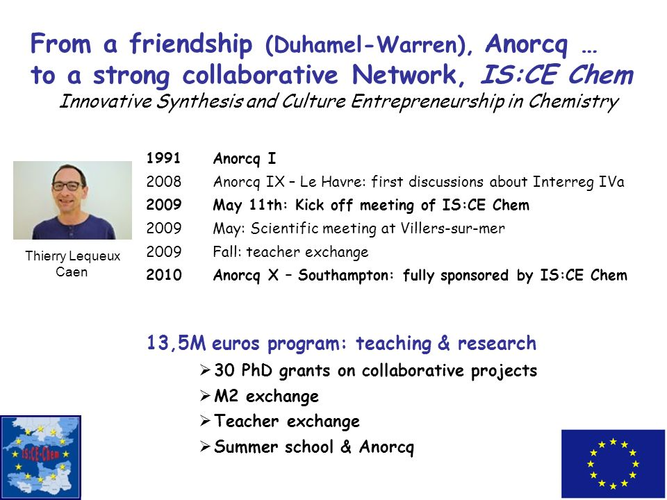 From a friendship (Duhamel-Warren), Anorcq … to a strong collaborative Network, IS:CE Chem Innovative Synthesis and Culture Entrepreneurship in Chemis