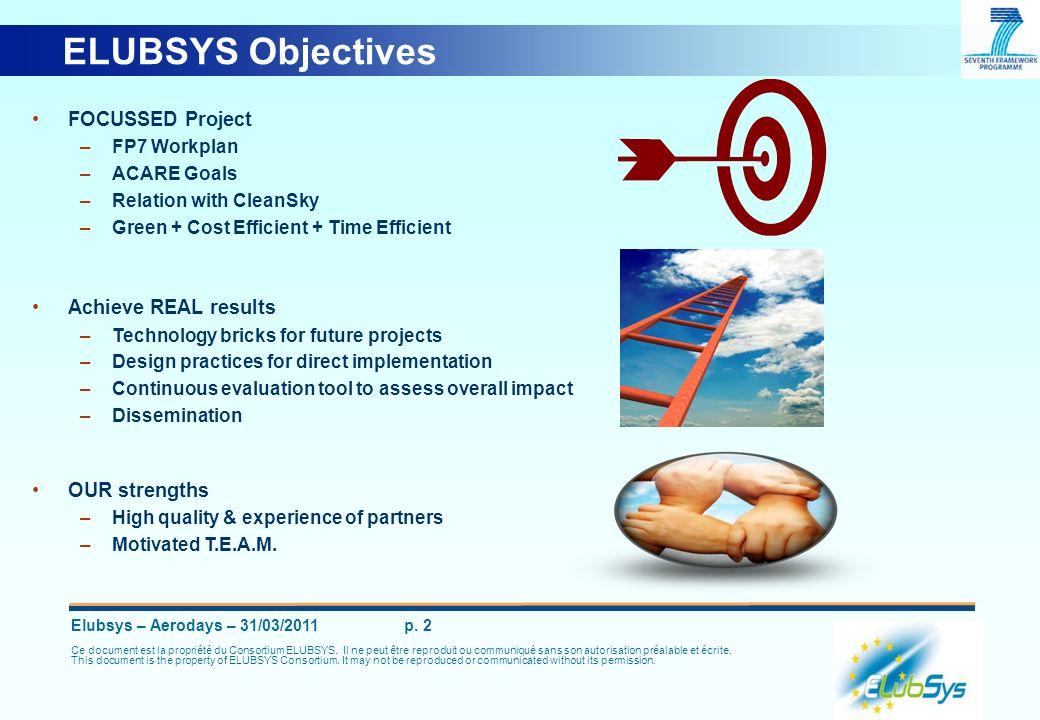 Elubsys – Aerodays – 31/03/2011 p. 2 Ce document est la propriété du Consortium ELUBSYS. Il ne peut être reproduit ou communiqué sans son autorisation