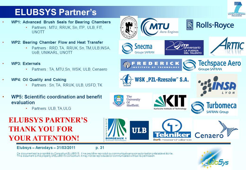 Elubsys – Aerodays – 31/03/2011 p. 31 Ce document est la propriété du Consortium ELUBSYS. Il ne peut être reproduit ou communiqué sans son autorisatio