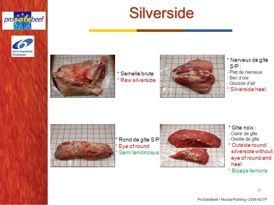 ProSafeBeef – Muscle Profiling –2009 ADIV © Silverside 16 * Semelle brute * Raw silverside * Rond de gîte S/P * Eye of round * Semi tendinosus * Nerve