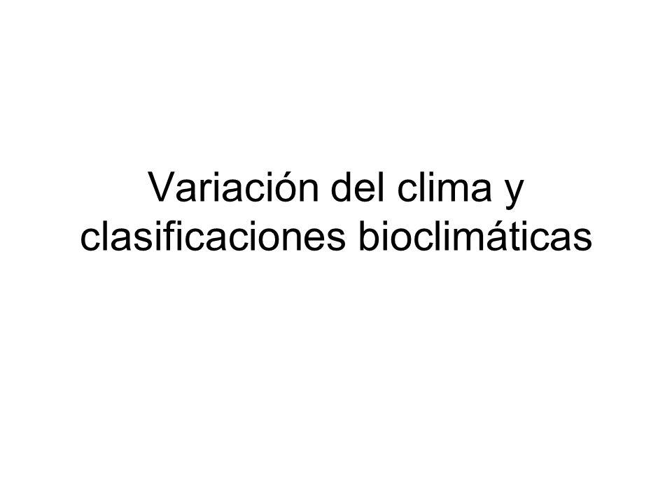 Variación del clima y clasificaciones bioclimáticas