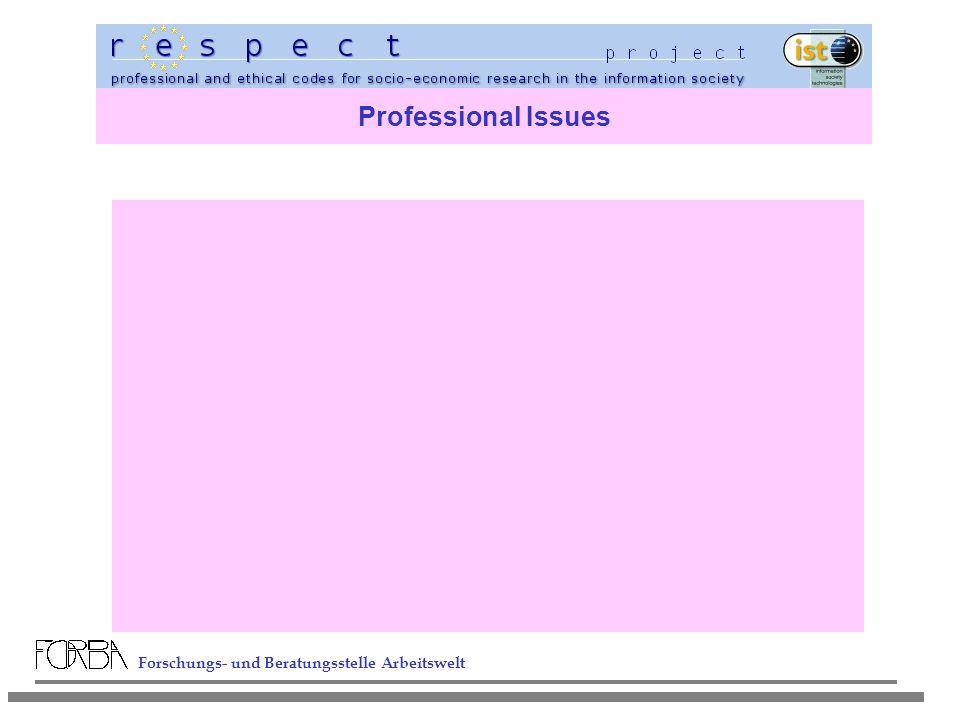 Forschungs- und Beratungsstelle Arbeitswelt Professional Issues