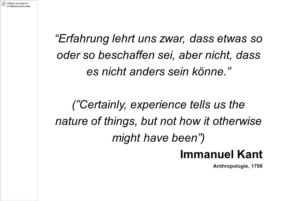 Erfahrung lehrt uns zwar, dass etwas so oder so beschaffen sei, aber nicht, dass es nicht anders sein könne.