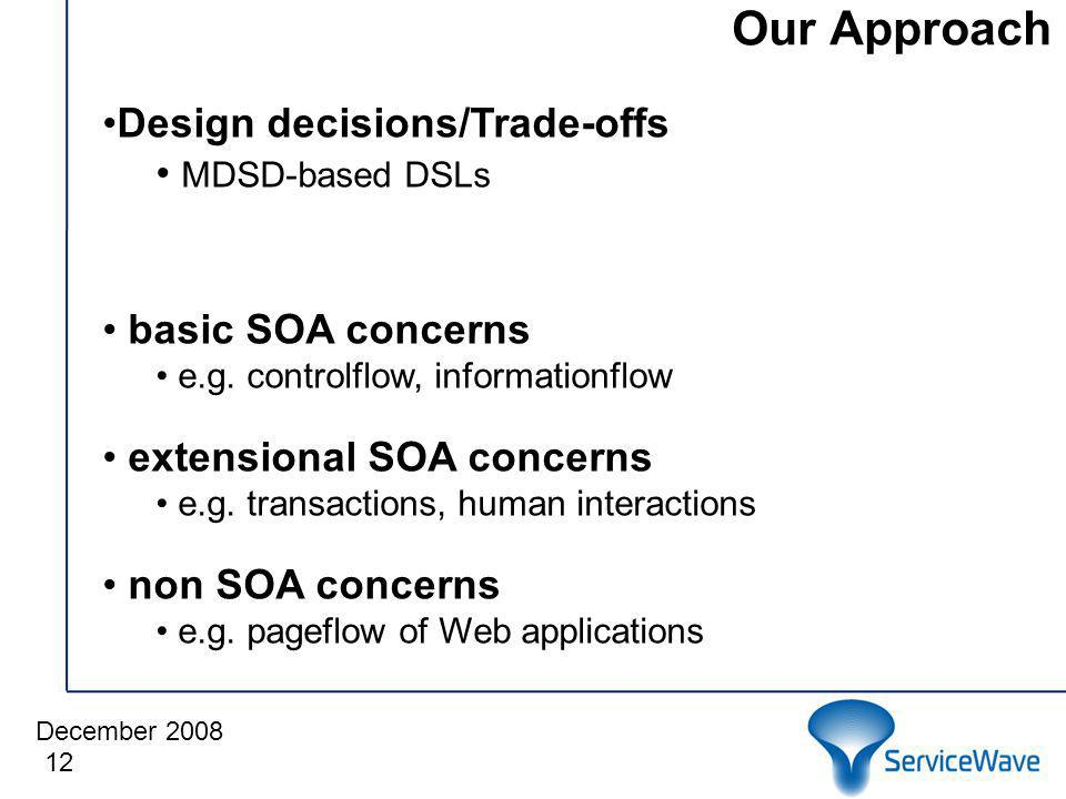 December 2008 Our Approach 12 Design decisions/Trade-offs MDSD-based DSLs basic SOA concerns e.g.
