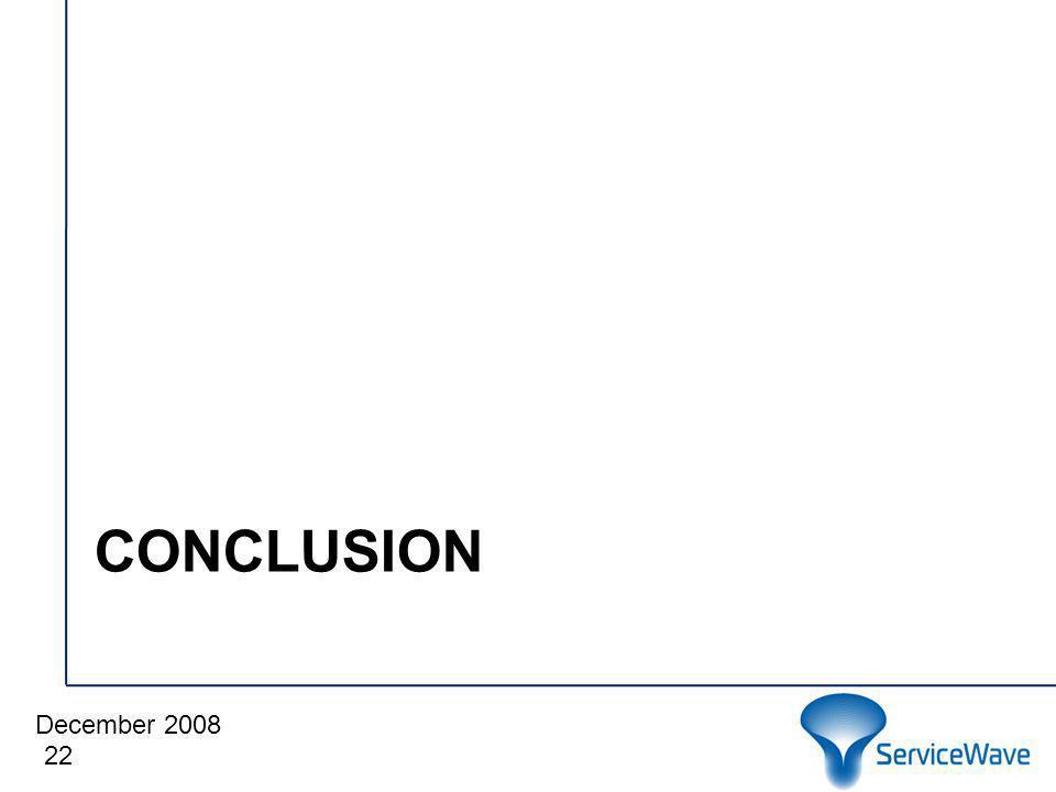 December 2008 Cliquez pour modifier le style du titre CONCLUSION 22