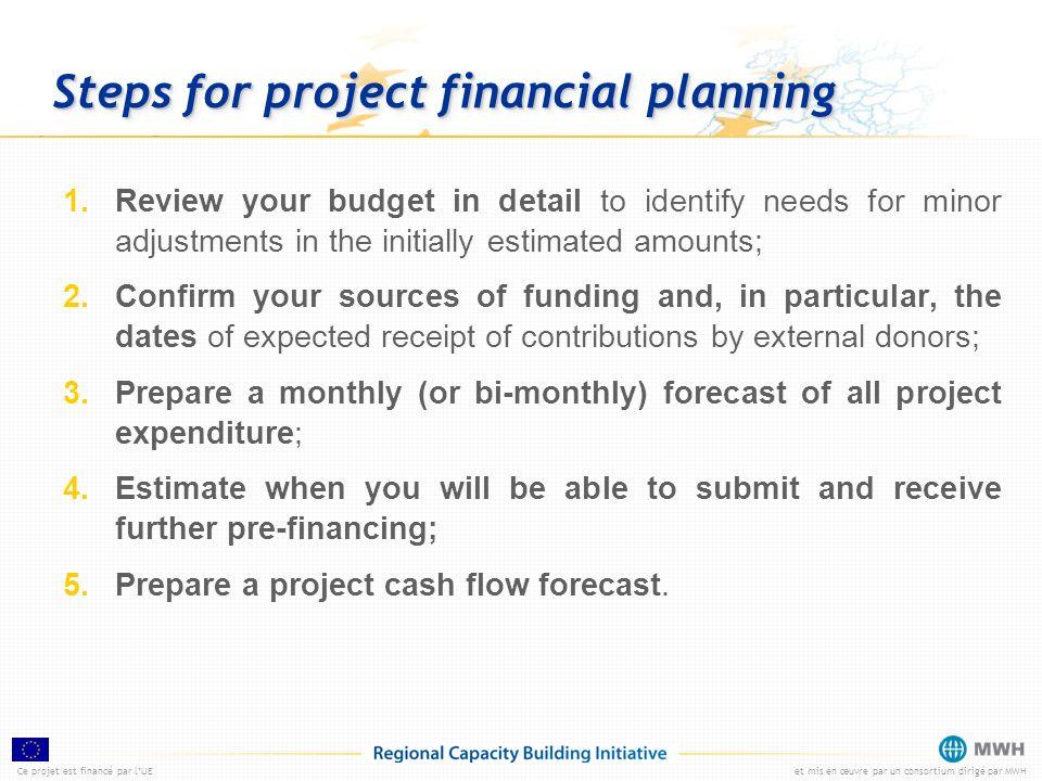 Ce projet est financé par lUEet mis en œuvre par un consortium dirigé par MWH Steps for project financial planning 1.Review your budget in detail to i