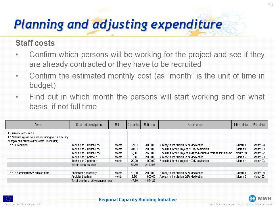Ce projet est financé par lUEet mis en œuvre par un consortium dirigé par MWH 16 Planning and adjusting expenditure Staff costs Confirm which persons