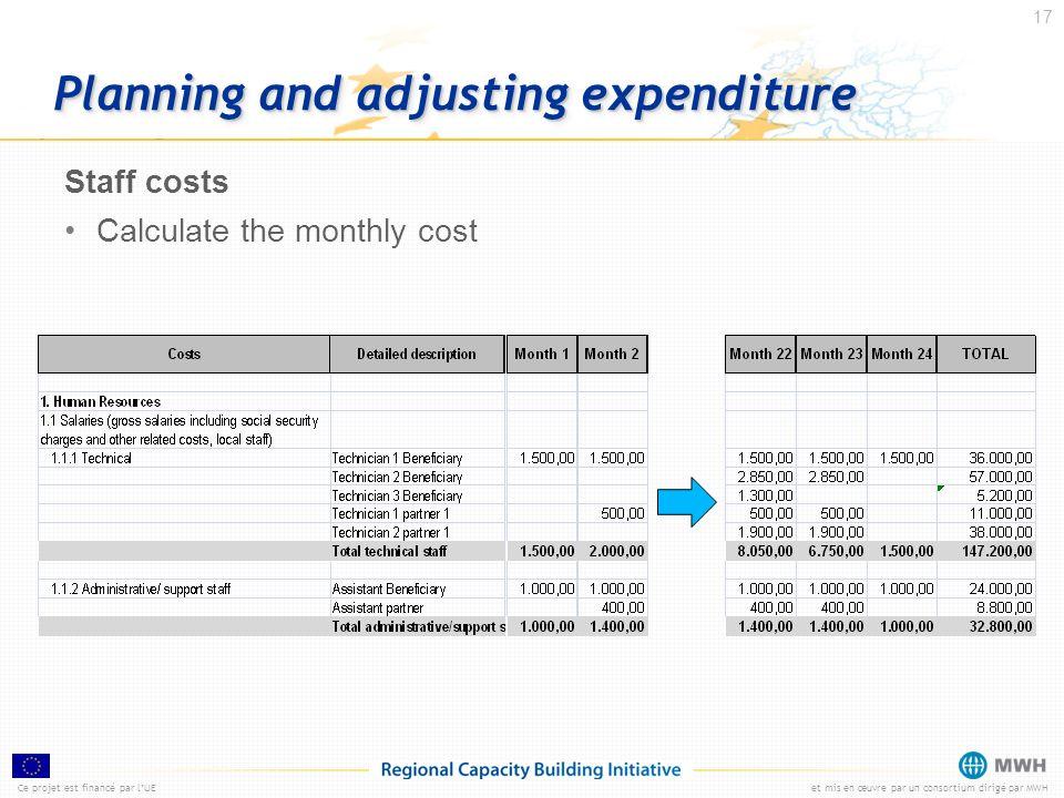 Ce projet est financé par lUEet mis en œuvre par un consortium dirigé par MWH 17 Planning and adjusting expenditure Staff costs Calculate the monthly