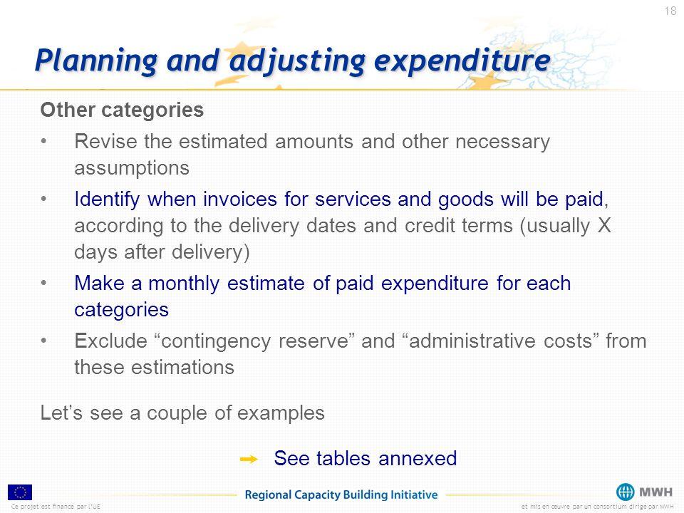 Ce projet est financé par lUEet mis en œuvre par un consortium dirigé par MWH 18 Planning and adjusting expenditure Other categories Revise the estima