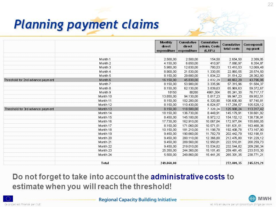 Ce projet est financé par lUEet mis en œuvre par un consortium dirigé par MWH 22 Planning payment claims Do not forget to take into account the admini