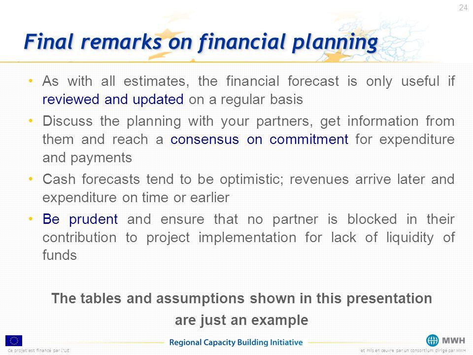 Ce projet est financé par lUEet mis en œuvre par un consortium dirigé par MWH 24 Final remarks on financial planning As with all estimates, the financ