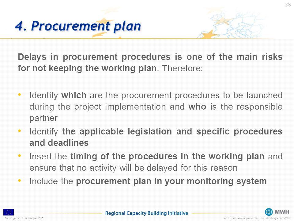 Ce projet est financé par lUEet mis en œuvre par un consortium dirigé par MWH 33 4. Procurement plan Delays in procurement procedures is one of the ma
