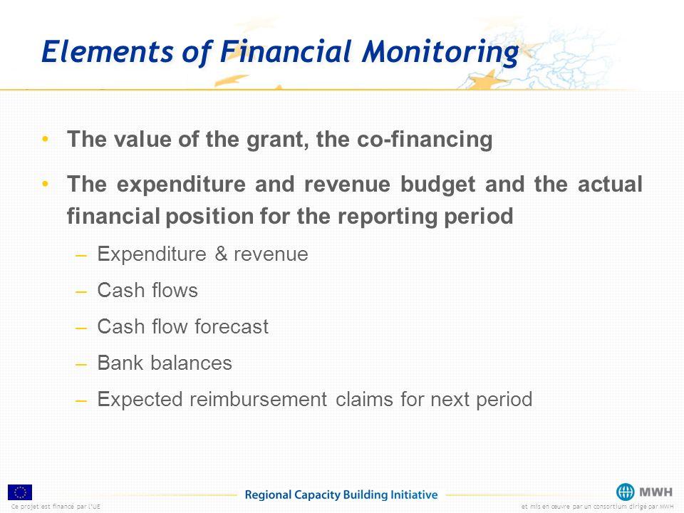 Ce projet est financé par lUEet mis en œuvre par un consortium dirigé par MWH Elements of Financial Monitoring The value of the grant, the co-financin