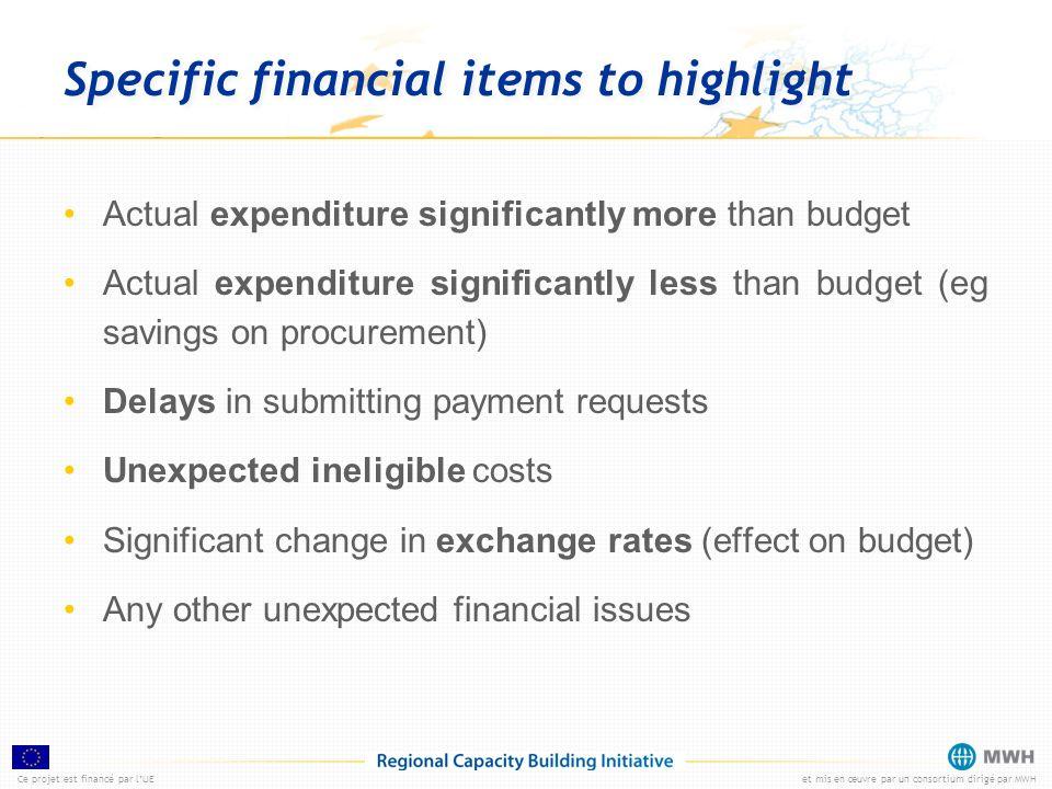 Ce projet est financé par lUEet mis en œuvre par un consortium dirigé par MWH Specific financial items to highlight Actual expenditure significantly m