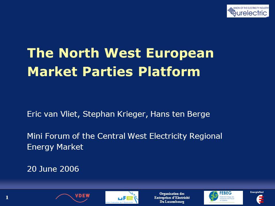 2 The NWE market Organisation des Entreprises dElectricité Du Luxembourg and the market parties associations