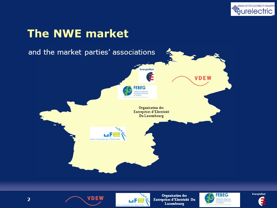 2 The NWE market Organisation des Entreprises dElectricité Du Luxembourg and the market parties associations