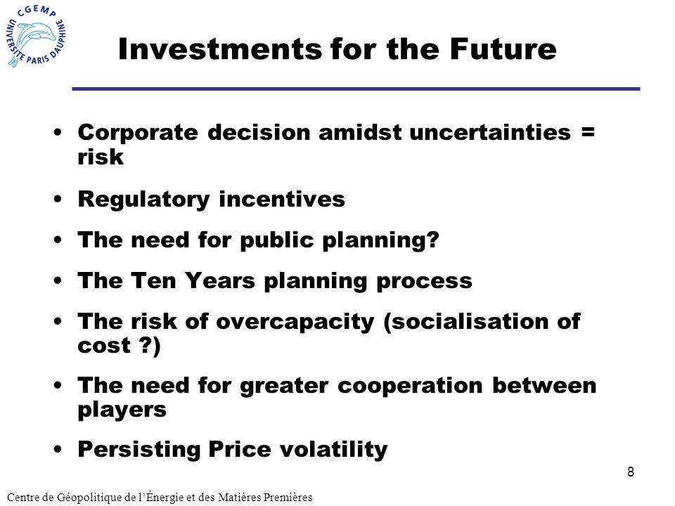 8 Investments for the Future Corporate decision amidst uncertainties = risk Regulatory incentives The need for public planning.