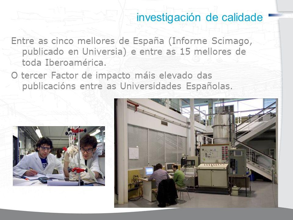 investigación de calidade Entre as cinco mellores de España (Informe Scimago, publicado en Universia) e entre as 15 mellores de toda Iberoamérica.