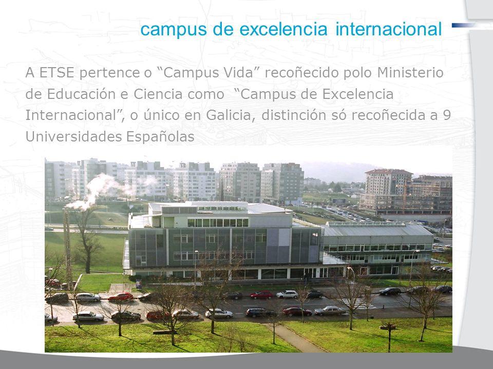 campus de excelencia internacional A ETSE pertence o Campus Vida recoñecido polo Ministerio de Educación e Ciencia como Campus de Excelencia Internacional, o único en Galicia, distinción só recoñecida a 9 Universidades Españolas
