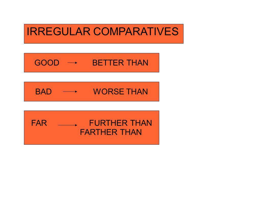 IRREGULAR COMPARATIVES GOOD BETTER THAN BAD WORSE THAN FARFURTHER THAN FARTHER THAN
