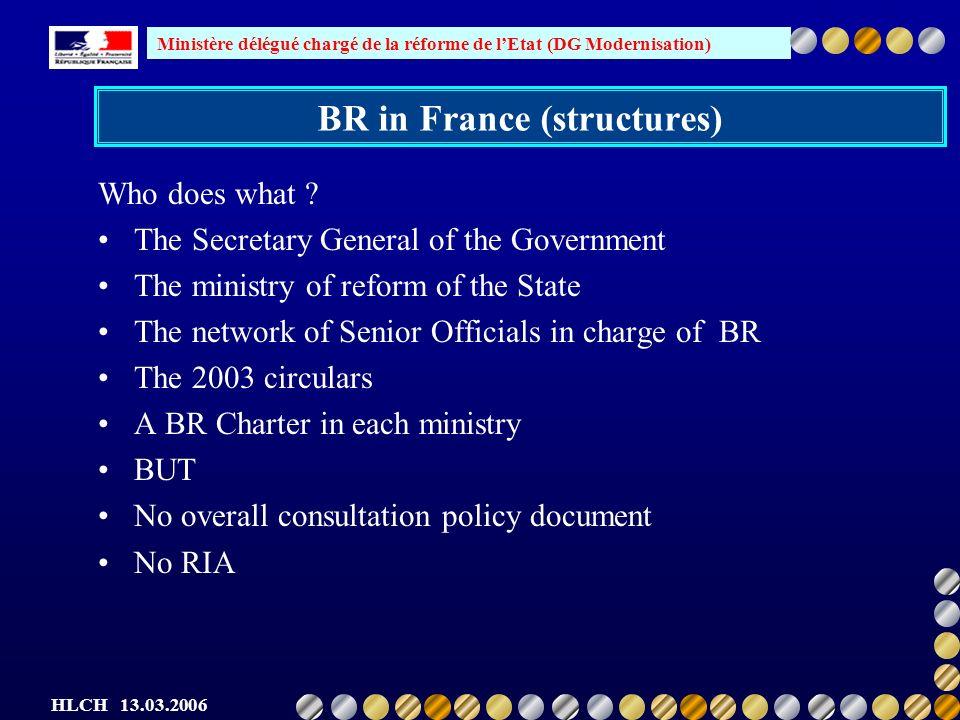 Ministère délégué chargé de la réforme de lEtat (DG Modernisation) HLCH 13.03.2006 BR in France (structures) Who does what .