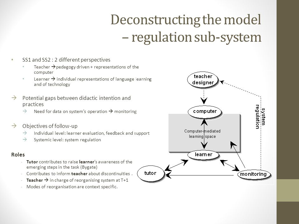 Deconstructing the model – regulation sub-system SS1 and SS2 : 2 different perspectives Teacher pedagogy driven + representations of the computer Lear