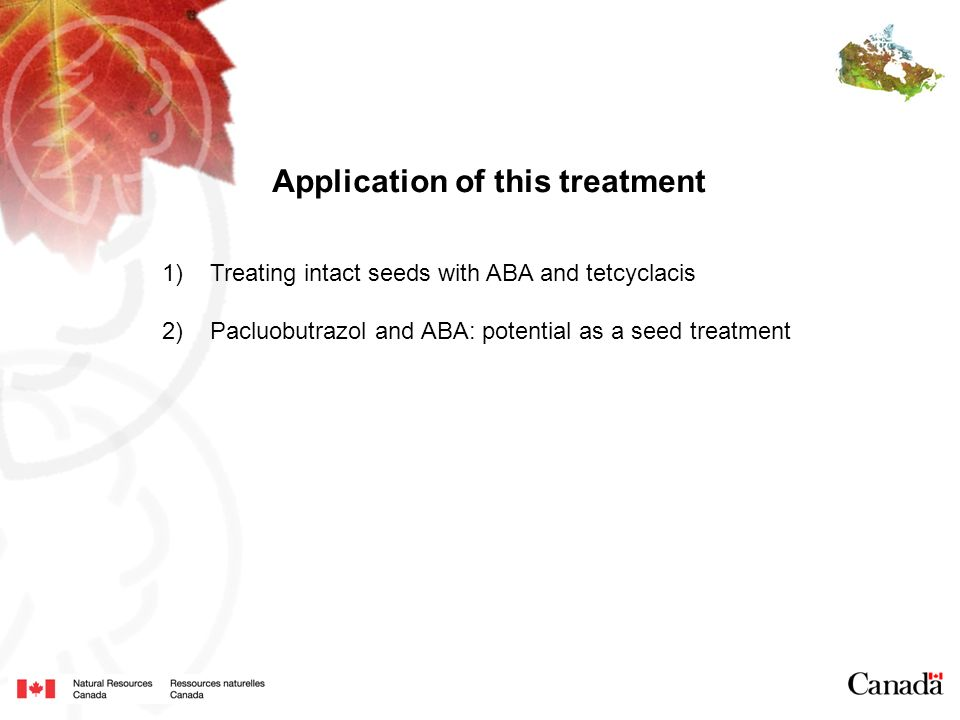 Application of this treatment 1)Treating intact seeds with ABA and tetcyclacis 2)Pacluobutrazol and ABA: potential as a seed treatment