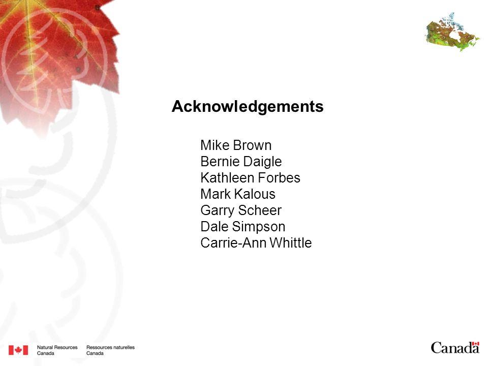 Acknowledgements Mike Brown Bernie Daigle Kathleen Forbes Mark Kalous Garry Scheer Dale Simpson Carrie-Ann Whittle